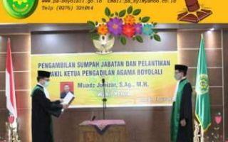 Pelantikan dan Pengambilan Sumpah Jabatan Wakil Ketua Pengadilan Agama Boyolali.
